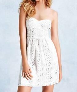 sz 4 victoria's secret white eyelet lace corset bustier