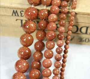 Natural-Gold-Sand-Gemstone-Round-Ball-Spacer-Beads-15-4mm-6mm-8mm-10mm-12mm
