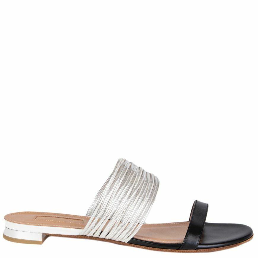 57282 auth AQUAZZURA black & silver RENDEZ VOUS leather Slides Sandals shoes 38