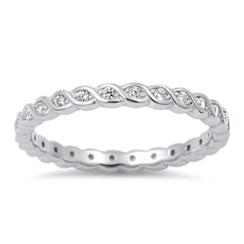 Wave Eternity Stackable White CZ Love Ring .925 Sterling Silver Band Sizes 4-10
