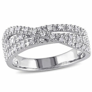 Sterling Silver 1/4 ct TDW Diamond Crossover Ring H-I I2-I3