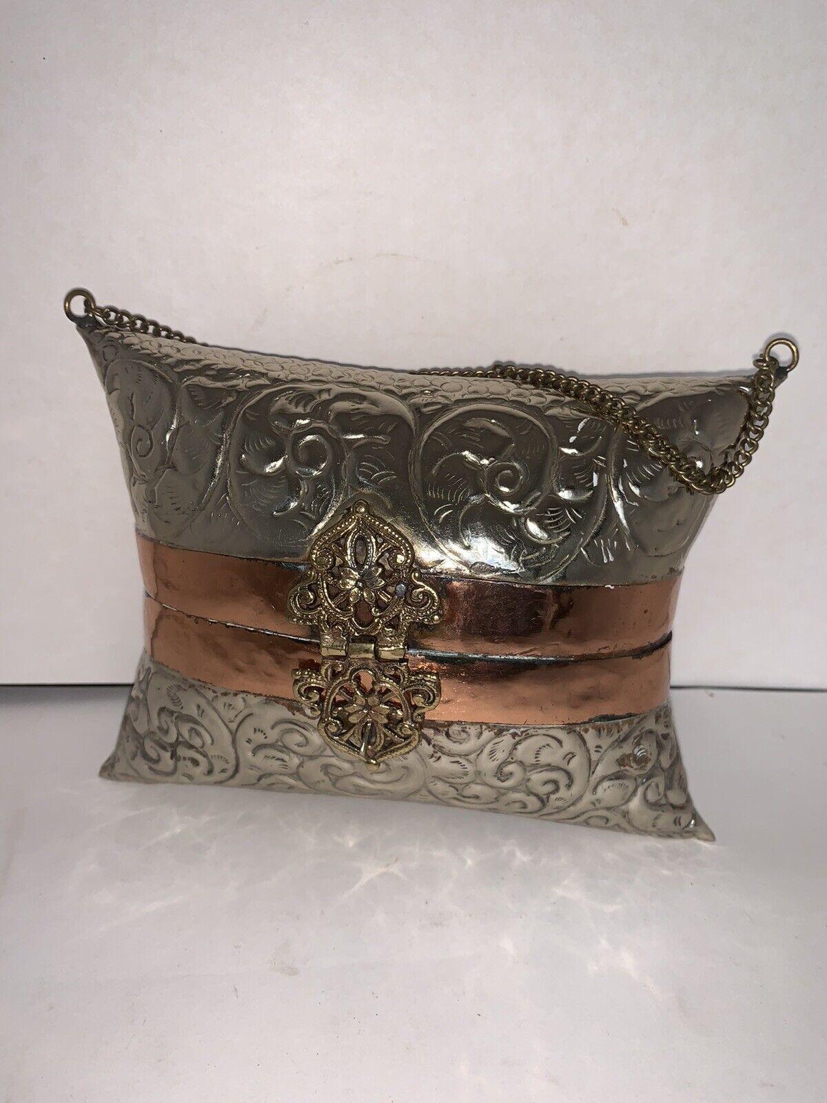 Vintage Pillow Purse Evening Bag Brass & Copper 1930s Blue Velvet Lining Cushion