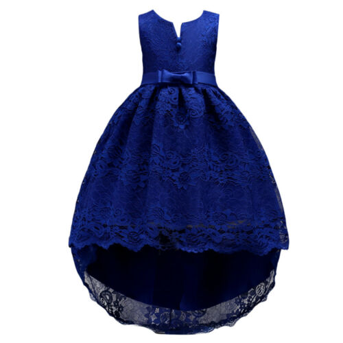 Flower Girl Lace Dress Princess Birthday Butterfly Bow High Low Dresses for Kid
