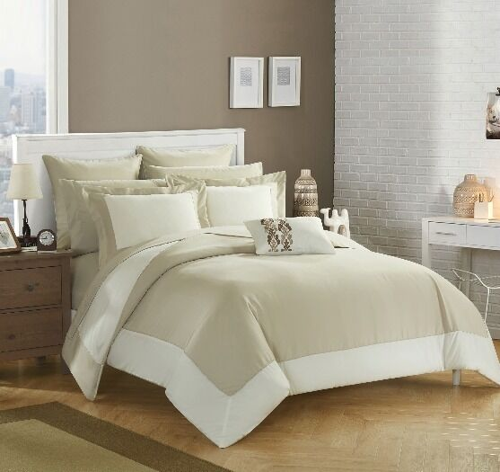 Classy Beige Hotel Border Reversible Comforter Sham Sheets 10 pcs King Queen Set