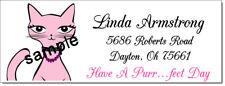 Pink Kitty Cat Design 44 Return Address Labels Glossy Or Matte