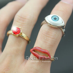 3Pcs-Chic-Blue-Eye-Red-Lip-Ruby-Crystal-Gold-Stacking-Midi-Tip-Finger-Ring-SZ-6
