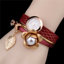Rose Flower Ladies Watch Leather Strap Partywear
