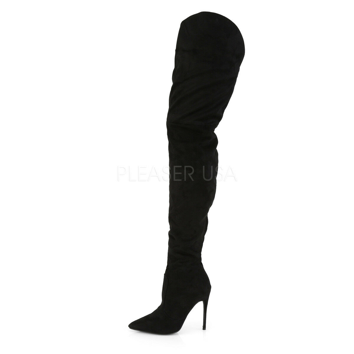 Black Vegan Suede Cortly 3017 Thigh High Credch Boots 5  High Heel 6 - 14