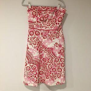 Liz-Claiborne-Womens-Dress-Size-8-Medium-Pink-Red-White-strapless-A-Line-Summer