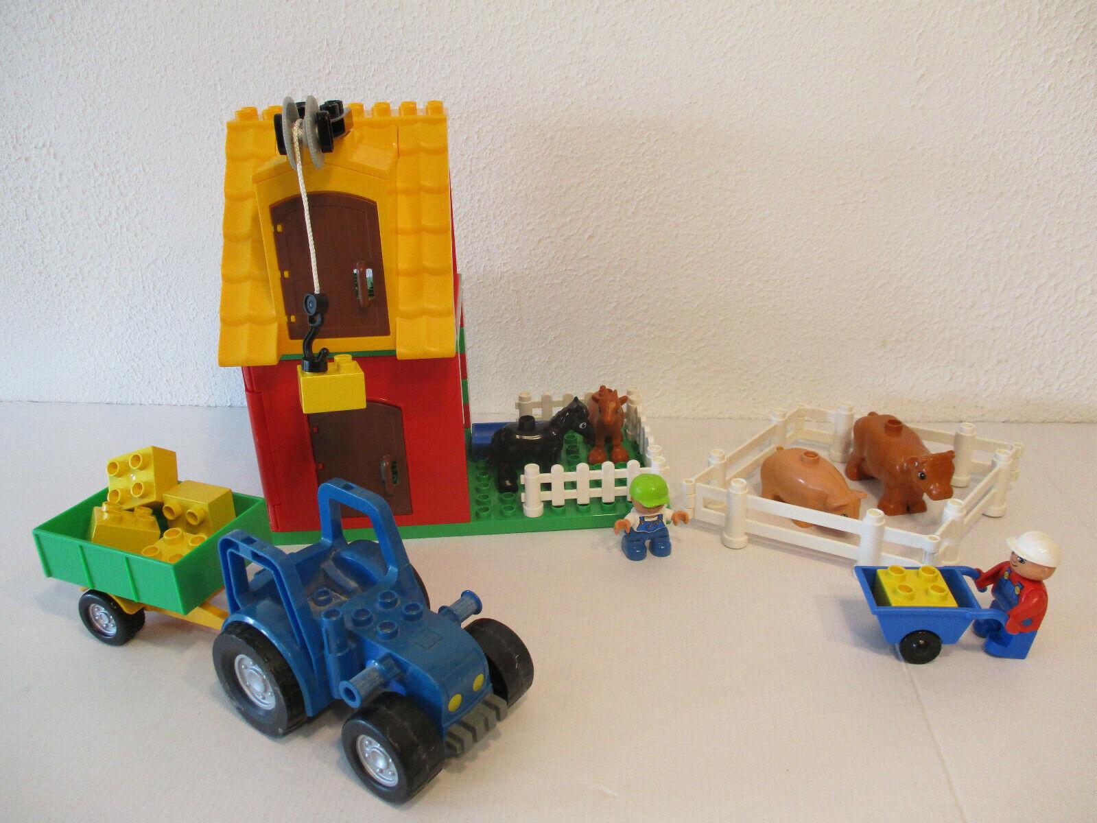 (Hk) Lego Duplo Farm Figurine Constructor Constructor Constructor Tractor with Trailer Animals d64174