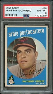 1959-Topps-BB-Card-98-Arnie-Portocarrero-Baltimore-Orioles-PSA-NM-MT-8