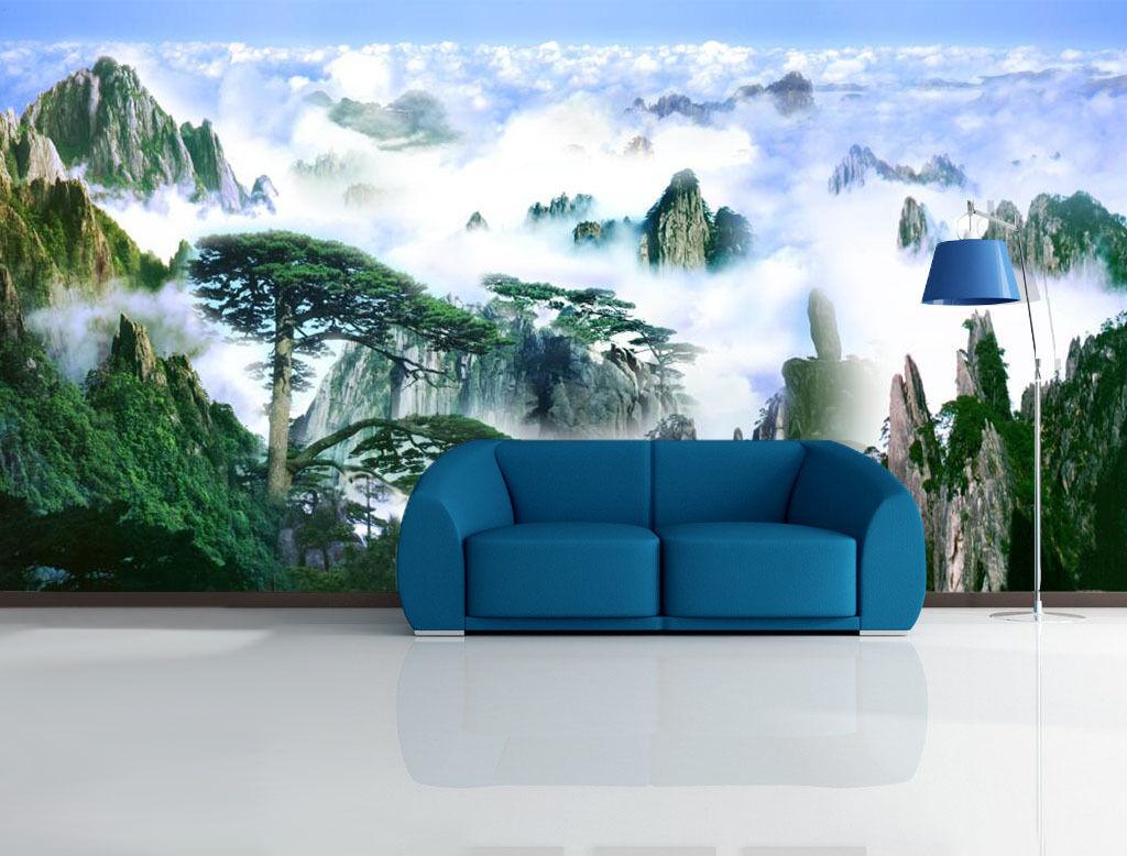 3D Schöne Berg, Wolke Fototapeten Wandbild Fototapete Bild Tapete Familie Kinder