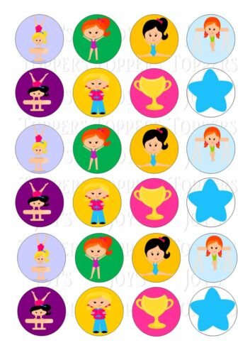 24 CHILDREN GYMNASTIC CUPCAKE TOPPER WAFER RICE EDIBLE FAIRY CAKE BUN TOPPERS