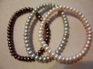 Set-of-3-Copper-Pink-amp-Mauve-Freshwater-Pearl-Bracelets-Stretchable