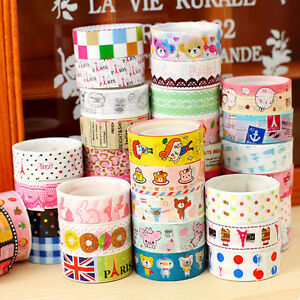 10Pcs DIY Cute Cartoon Paper Sticky Tape Adhesive Sticker Decoration Tape
