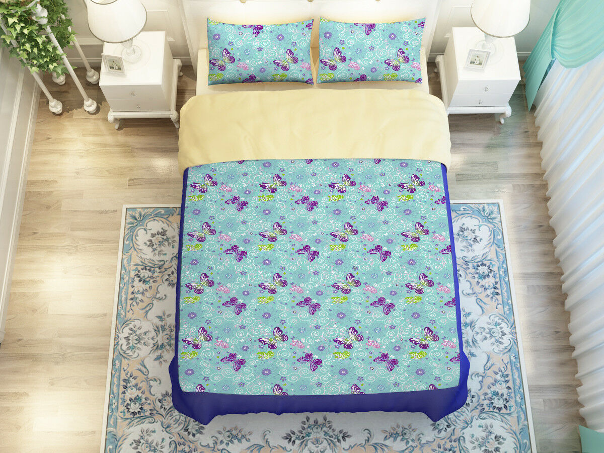 3D Butterfly Pattern9 Bed Pillowcases Quilt Duvet Cover Set Single Queen King CA