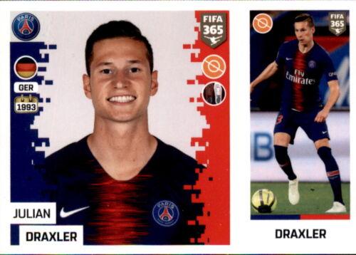 Sticker 156 a//b Paris Saint-Germain Panini FIFA365 2019 Julian Draxler