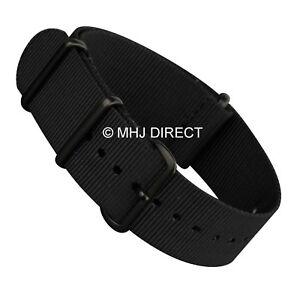 Black-3-Rings-NATO-G10-Infantry-Military-Fabric-Nylon-Watch-Strap-16-to-24mm-B