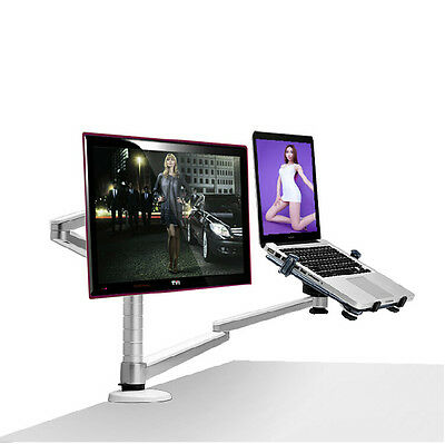 360º rotating height adjustable laptop & Monitor mount/stand/holder w duel arm-a