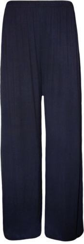Chers femme standard /& plus size plaine palazzo pantalon jambes larges taille 10-26