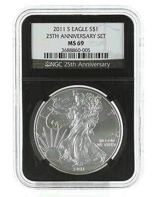 2011-S 1oz Burnished Silver Eagle MS69 NGC Blue