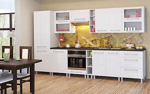 Küchenzeile Küchenblock Küche -Loara- Holz:Weiß-Hochglanz Front 360 ...