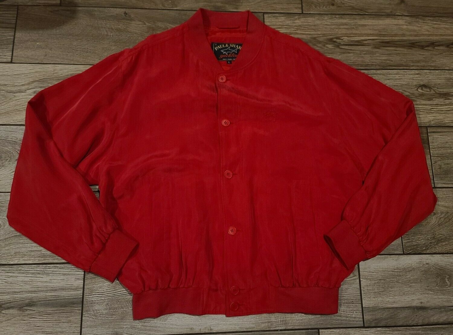 Paul Shark Yachting 100% Silk Buttoned Bomber Jac… - image 1
