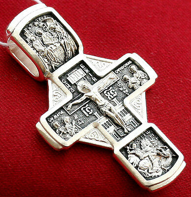 RUSSIAN GREEK ORTHODOX ICON CROSS, STERLING SILVER 925. OLD STYLE CRUCIFIX. NEW