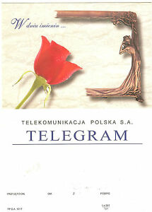 TELEGRAMME-POLOGNE-FLEUR-ROSE