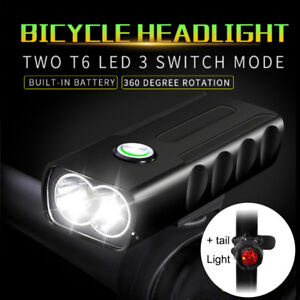 CREE-T6-LED-Lampe-de-velo-Bicyclette-Lampe-Frontale-USB-Rechargeable-Feu-Arriere