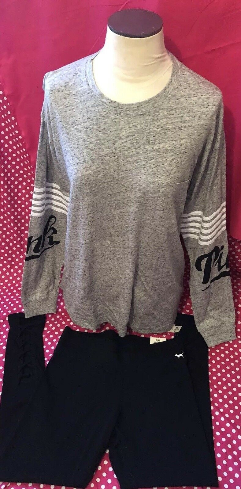 NWt L Xl Victoria Secret PINK Set Campus Crew Tee Shirt Legging Lace Oversized