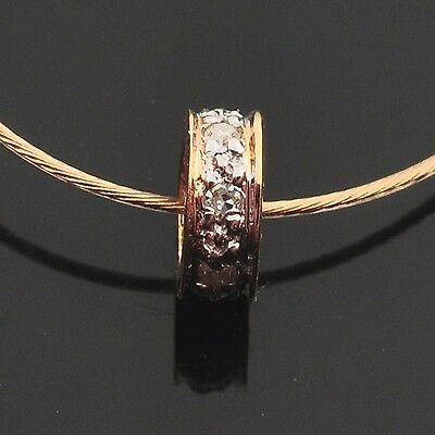 5mm 18k Solid Yellow Gold Diamond Eternity Rondelle Finding Bead