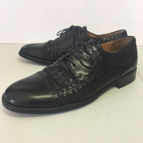Mezlan Cap Toe Woven Black Leather Dress Shoe Mens