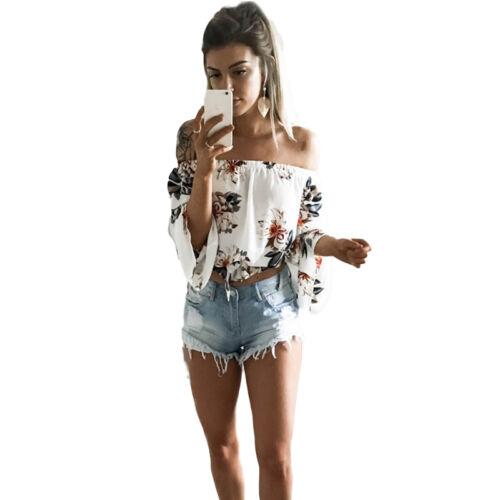 Damen Blumen Langarm Bluse Top Sommer Carmen Schulterfrei Shirt Oberteil Urlaub