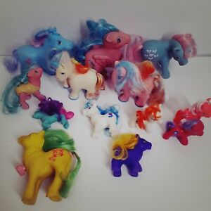 Vintage-1980s-My-Little-Pony-Lot-of-13-G1-Pegasus-And-Others-Stamped-Feet-Read