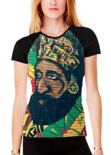 Haile Selassie Rasta Wall Art Women/'s All Over Graphic Contrast Baseball T Shirt