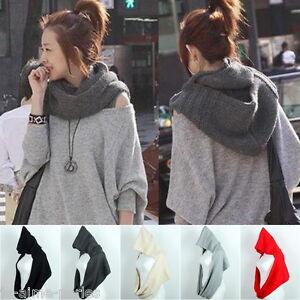 femme charpe foulard ch le avec capuche cache col tricot hiver cadeau no l ebay. Black Bedroom Furniture Sets. Home Design Ideas