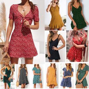 Womens-Maxi-Boho-Floral-Summer-Beach-Long-Slit-Evening-Cocktail-Party-Sun-Dress