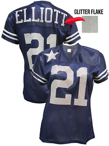 detailed look be2e5 49768 Details about Custom Womens Blinged Football Navy/Silver Glitter Flake  Jersey,Ezekiel Elliott