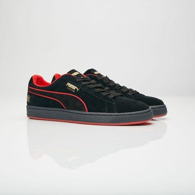 Mens Puma Suede Classic X FUBU SZ 11 Black Red White gold 366320