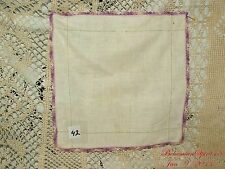 ANTIQUE VINTAGE HAND CROCHET FINE LINENS HANDKERCHIEF COLLECTIBLE