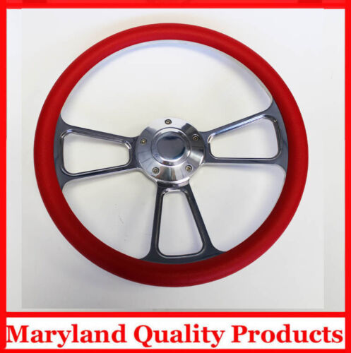 "New Nova Chevelle Steering Wheel Red Grip 14/"" Shallow Dish Billet Polished"