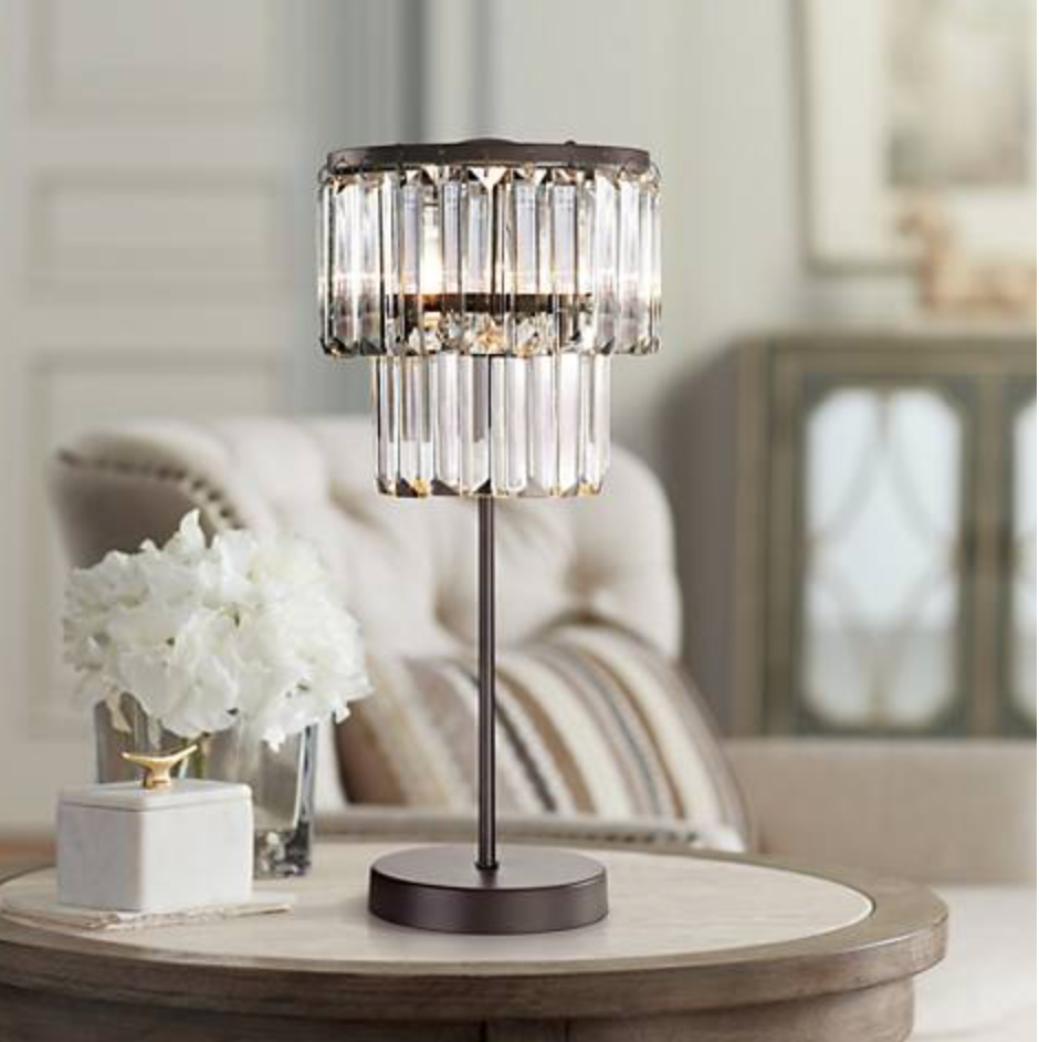 Restoration Hardware Replica Odeon Crystal Glass Fringe Table Lamp French Farm