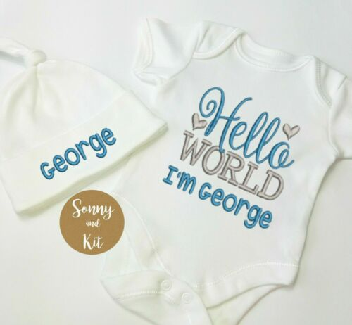 Personalised Baby Vest Bodysuit Hat Set Newborn Embroidered Boy Custom Gift