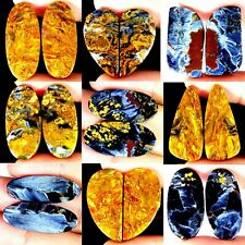Untreated Blue Pietersite Natural Matched Pair Oval Cab Loose Gemstone PK113 114