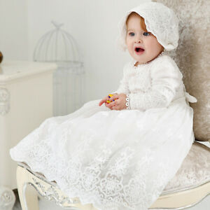 f21c5bb138813 Vintage Baby Girls Christening Baptism Dress+Hat Set White Lace Gown ...