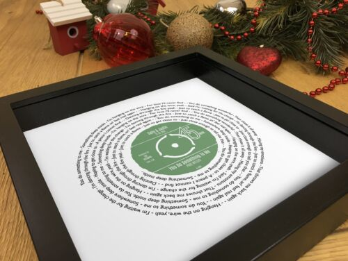 Personalised Anniversary Gift for HerFavourite Song Words Record Print Framed