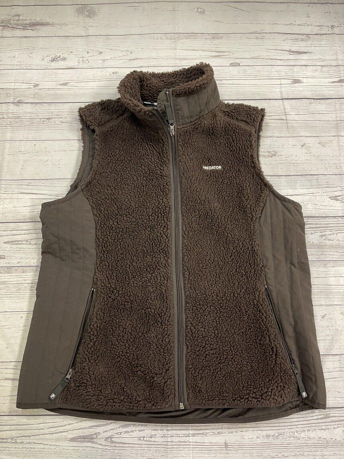 Predator Women's Size XL Brown Fuzzy Sherpa Full Zip Vest