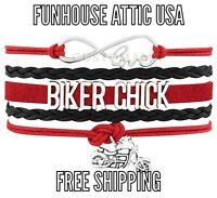 Love Biker Chick Infinity Jewelry Bracelet Motorcycle Charm Quality Brand