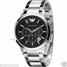 IMPORTED CLASSIC BLACK STEEL EMPORIO ARMANI AR2434 CHRONOGRAPH MENS WATCH GIFT